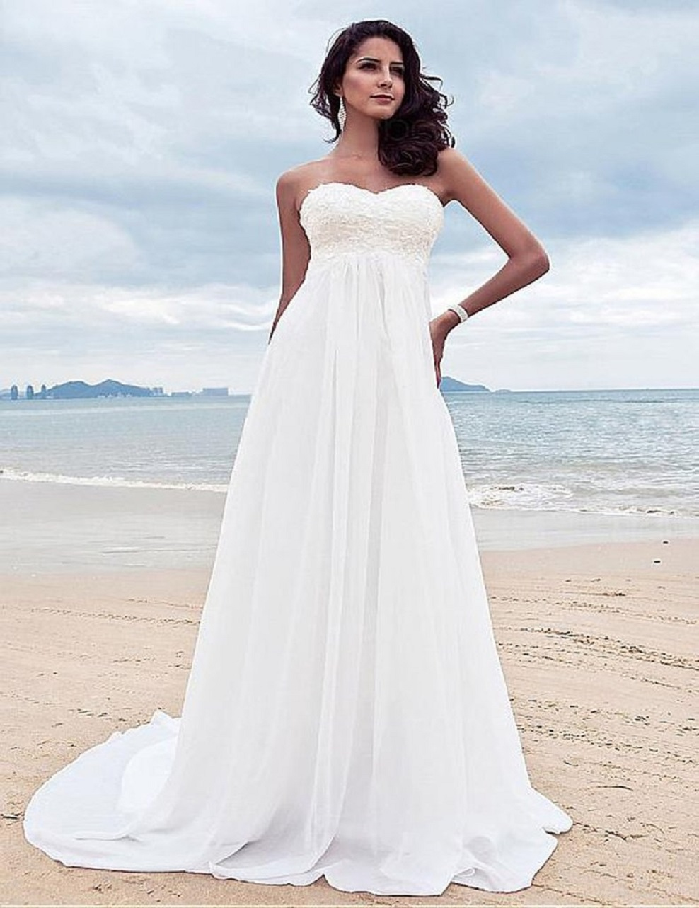Beaded chiffon Beach Wedding Dresses