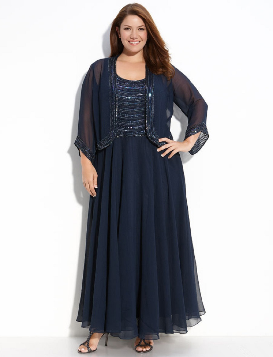 Blue Navy Plus Size Mother Of The Bride Dresses 2018