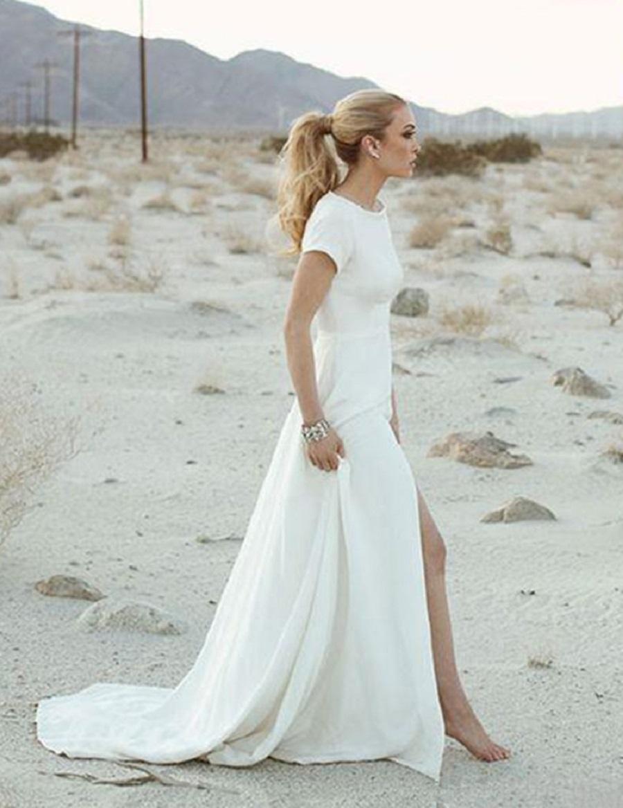 Beautiful White Casual Beach Wedding Dresses