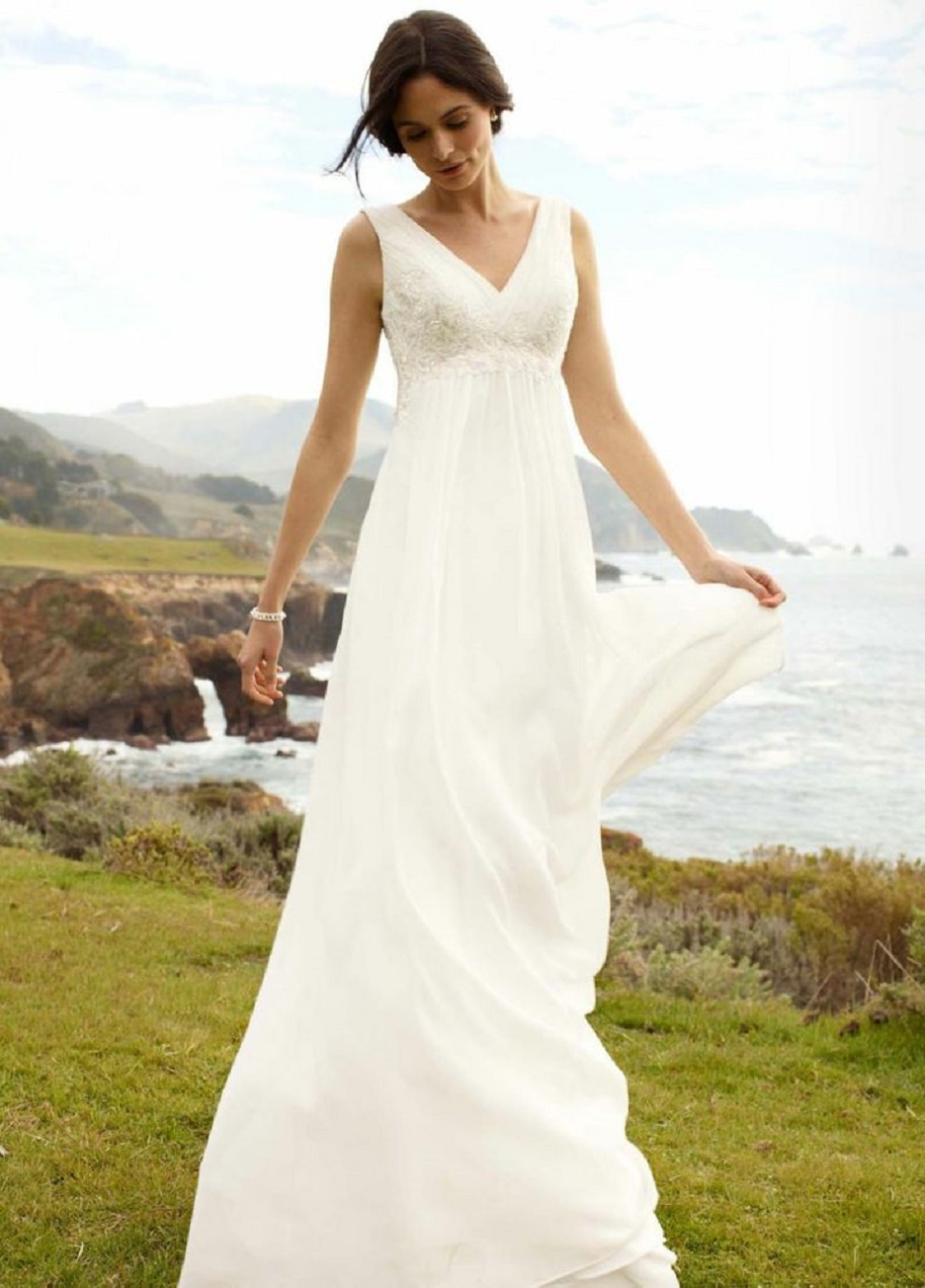 Simple White Casual Beach Wedding Dresses