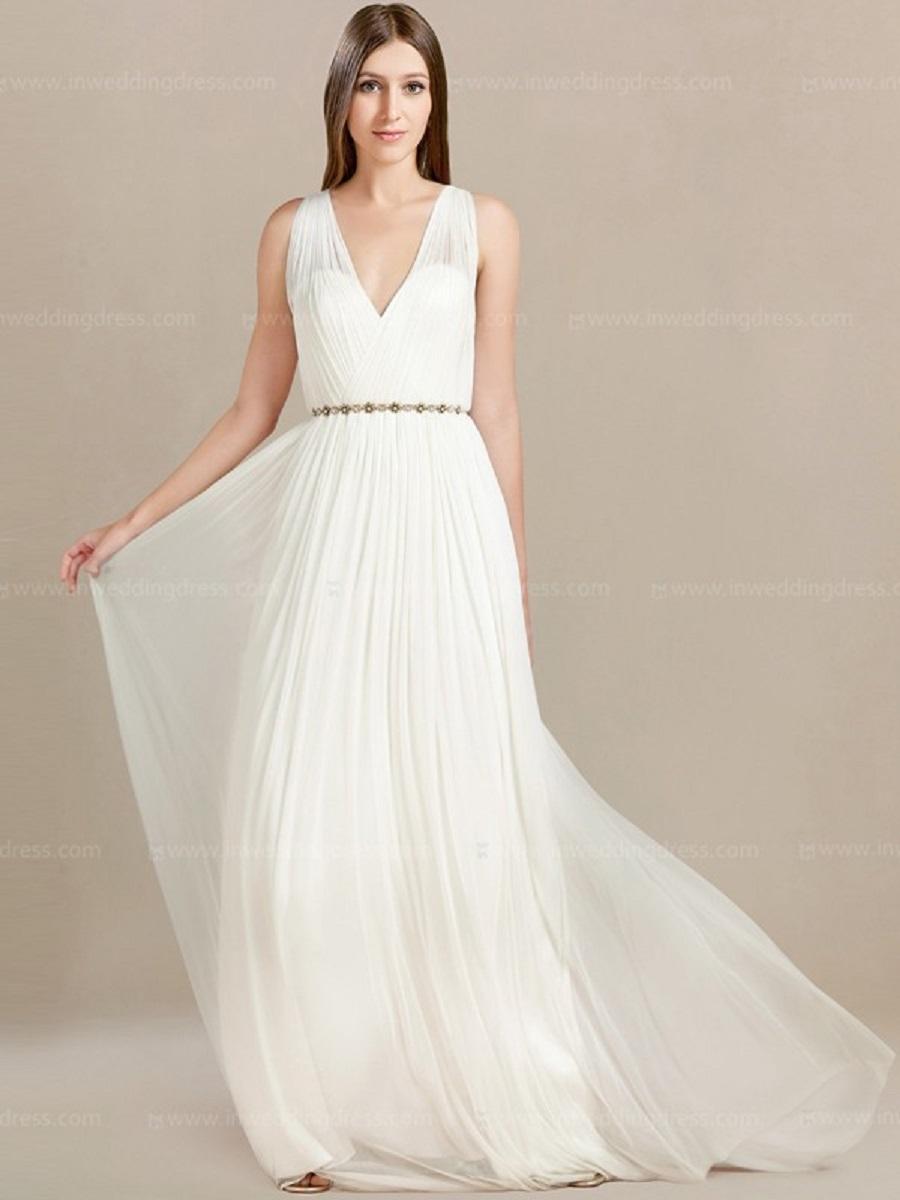 V Neck Casual Beach Wedding Dresses