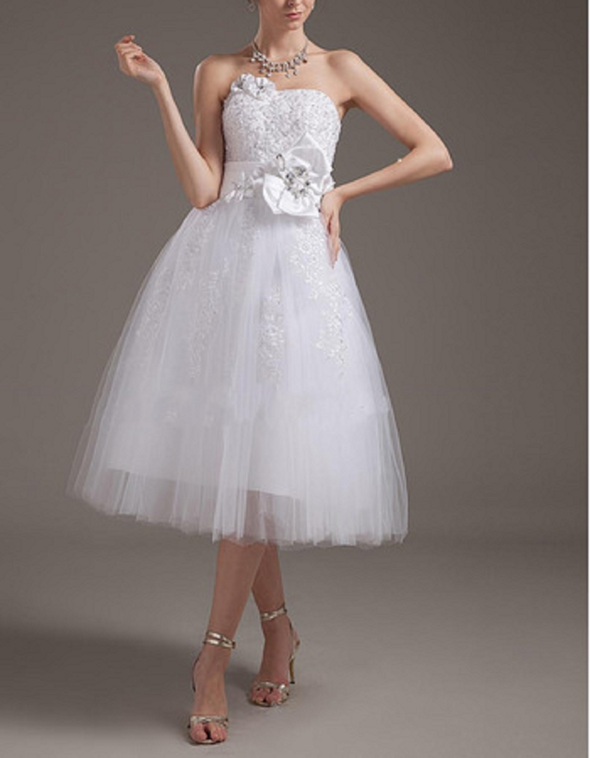 cute beading beach wedding dress