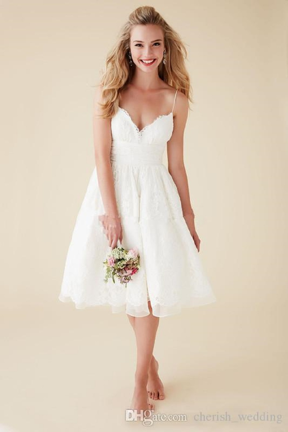 shoulder neckline beach wedding dress