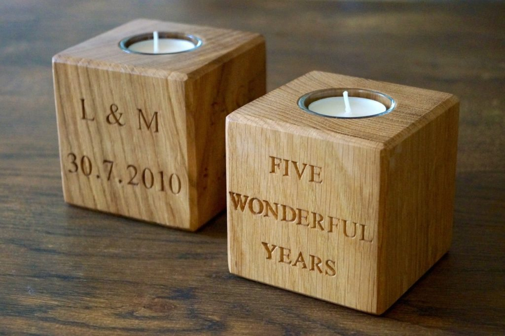 it's cute wooden box for fifth year anniversary
