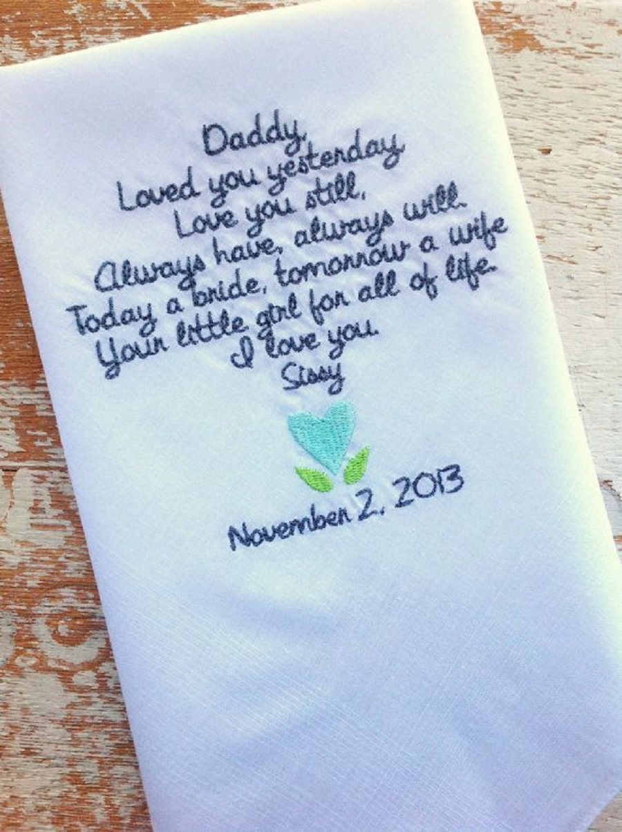 it's a personalized handkerchief for dad which is very romantic as wedding gift for parents
