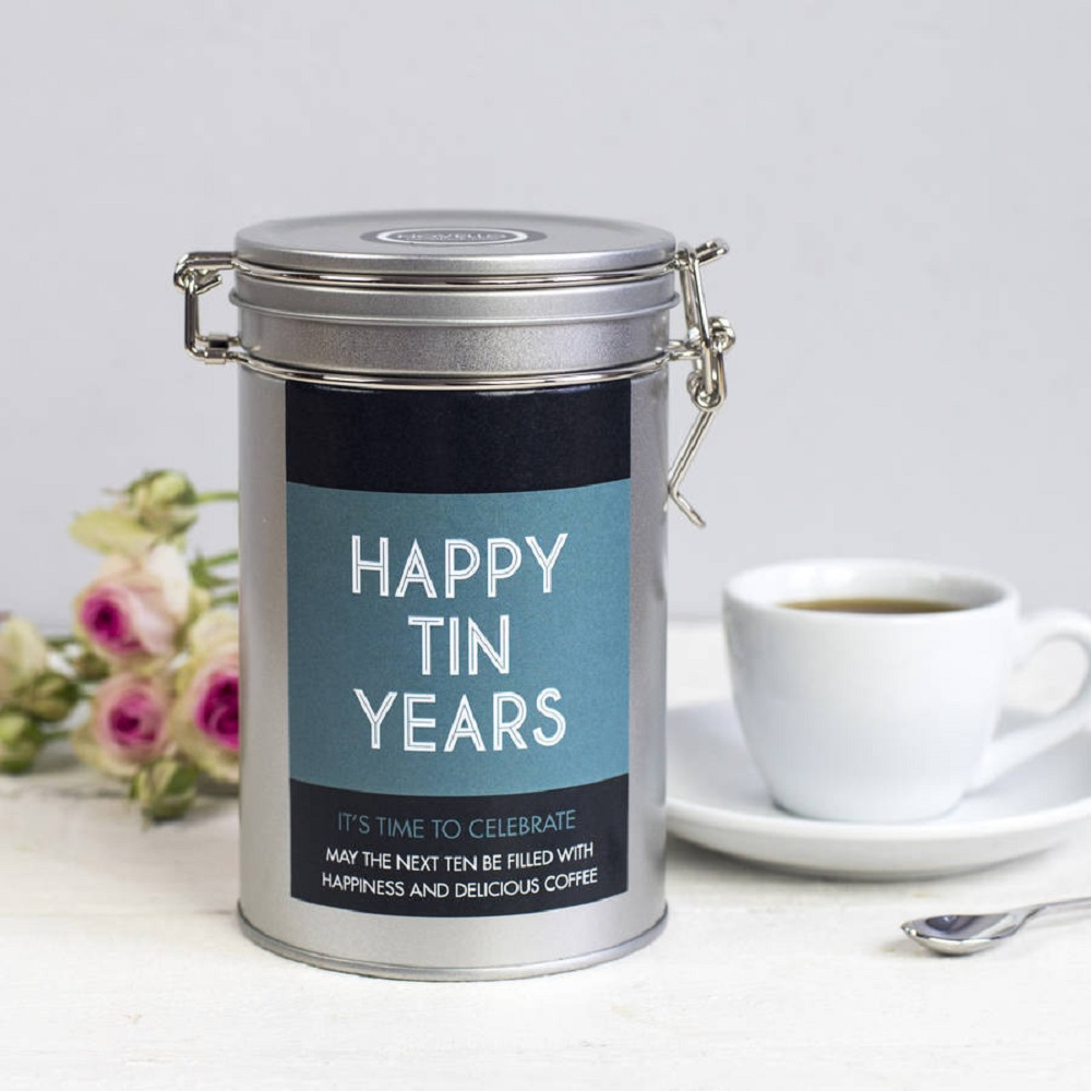 It's customized tin purposely for tin wedding anniversary gift