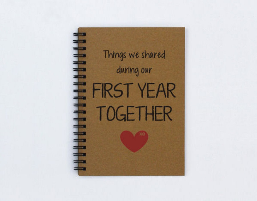 it's a journal book for your first year anniversary - traditional wedding gifts
