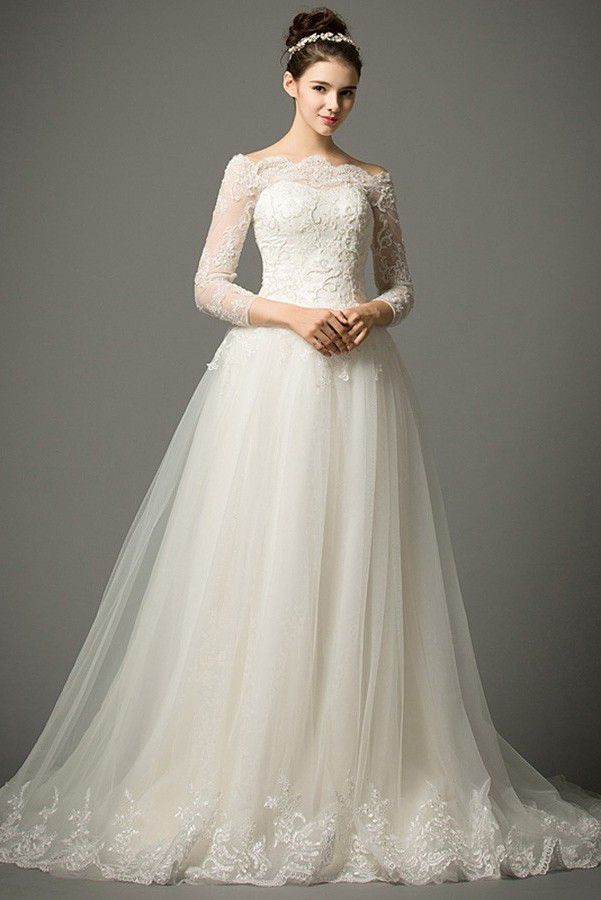 Sleeve Wedding Dress with Lace and Tulle Skirt