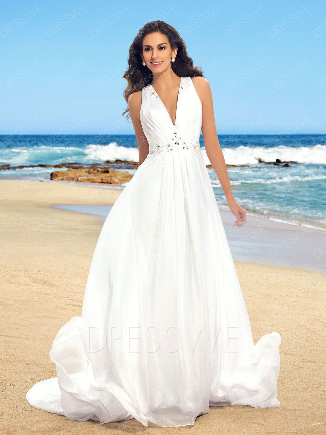 Simple V Beach Wedding Dresses