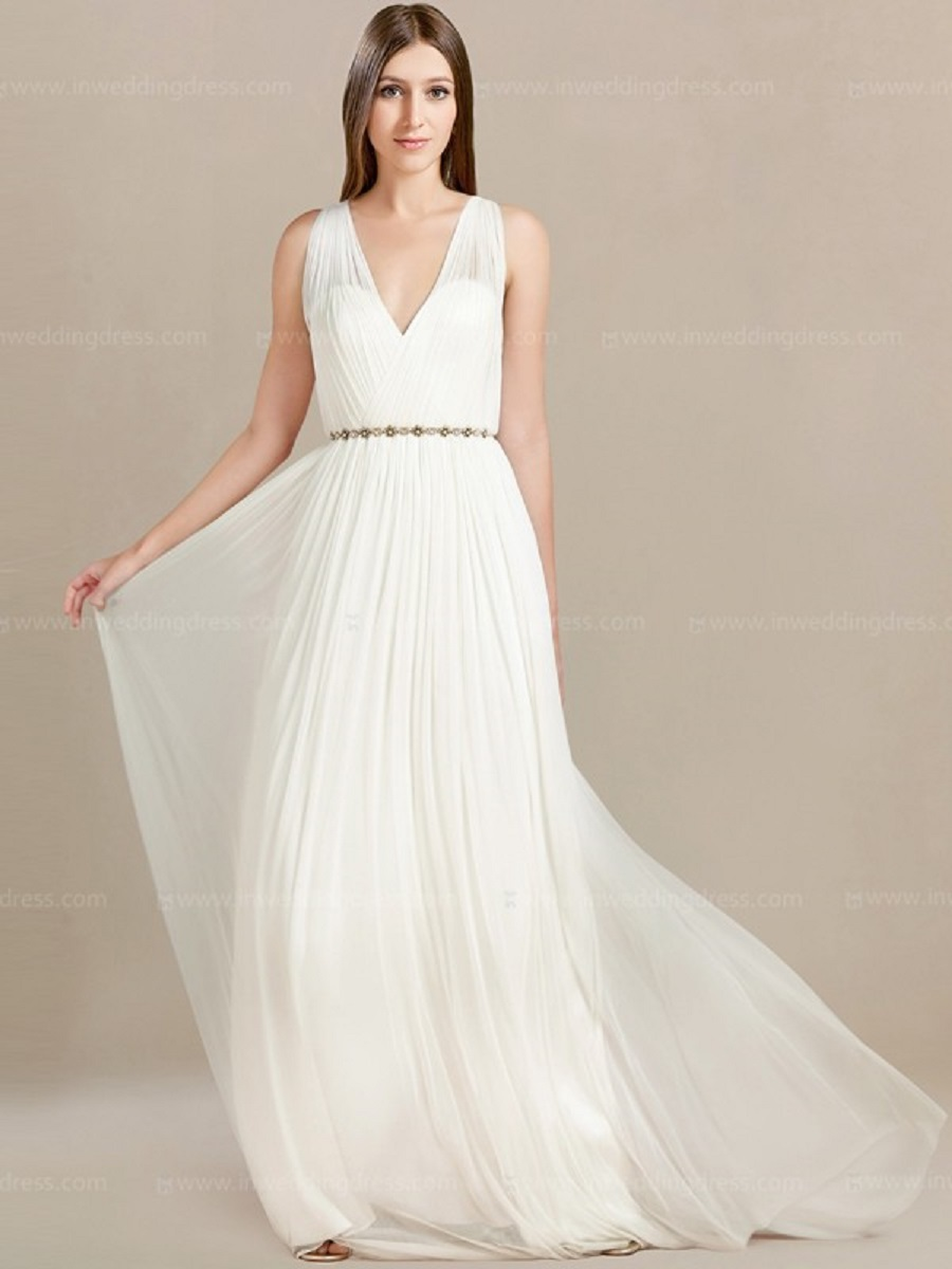 V Neck Casual Beach Wedding Dresses