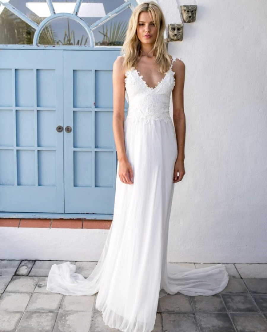 White Casual Beach Wedding Dresses
