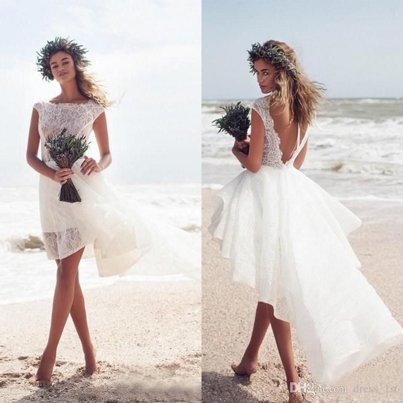 ivory lace short beach wedding