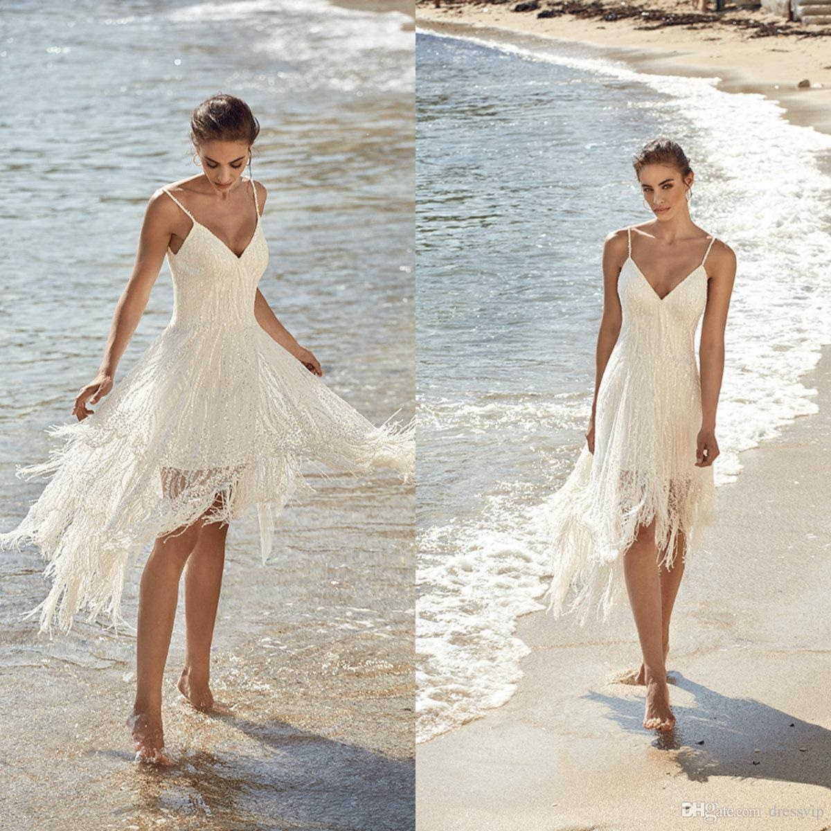simple neckline beach wedding dress