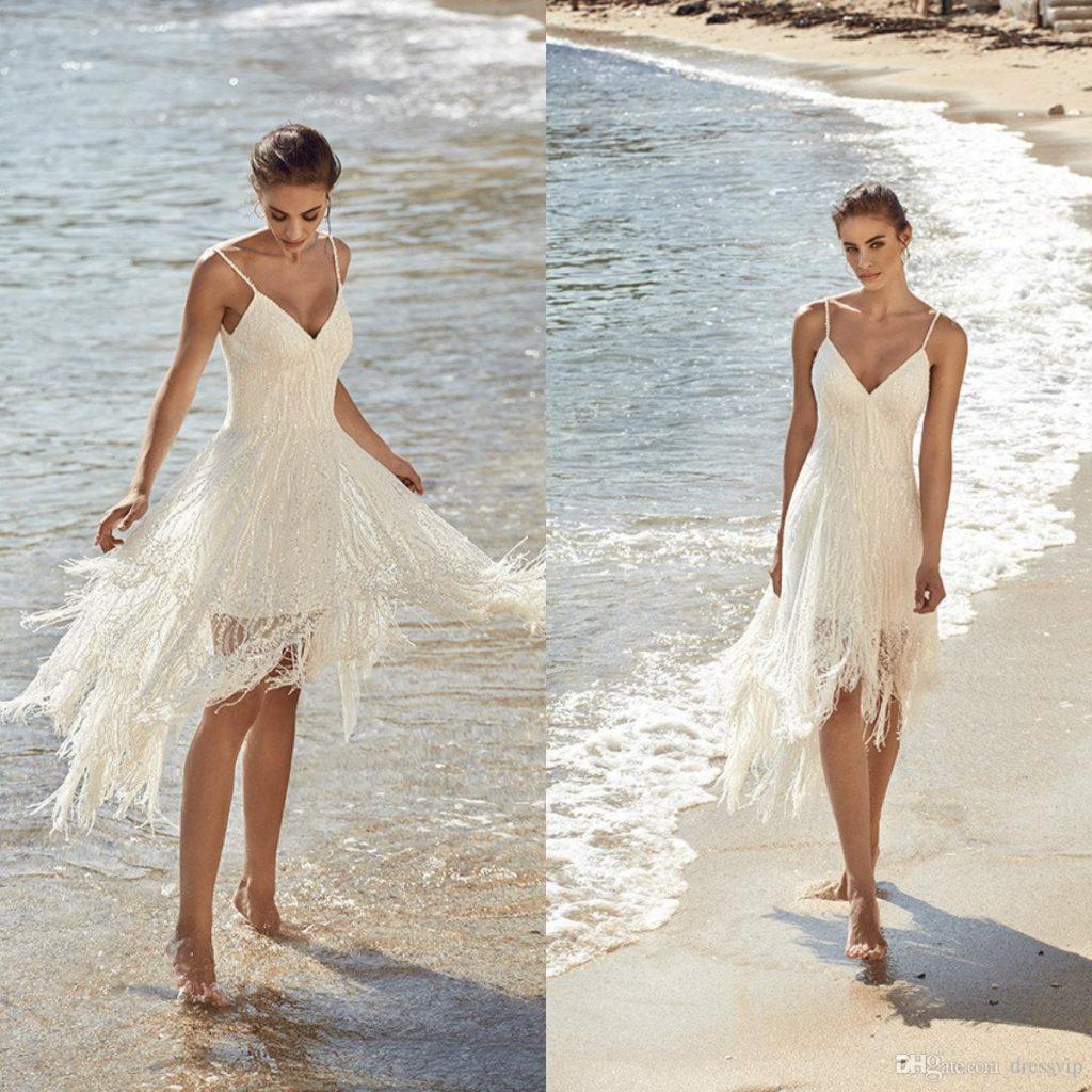 shoulder neckline beach wedding dresses