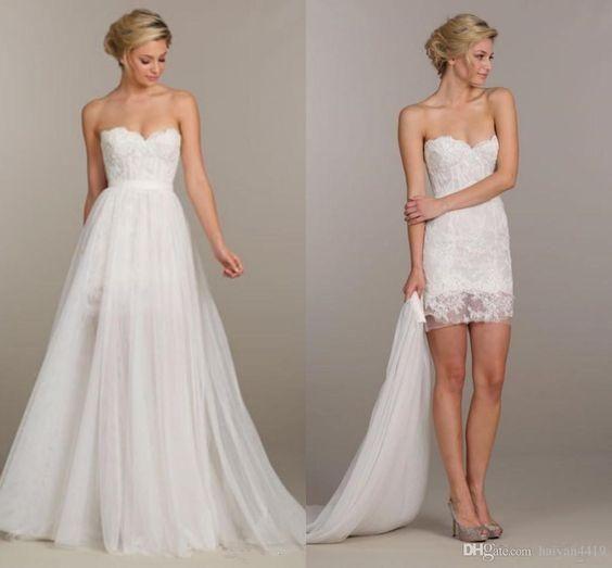 two piece short beach wedding dress
