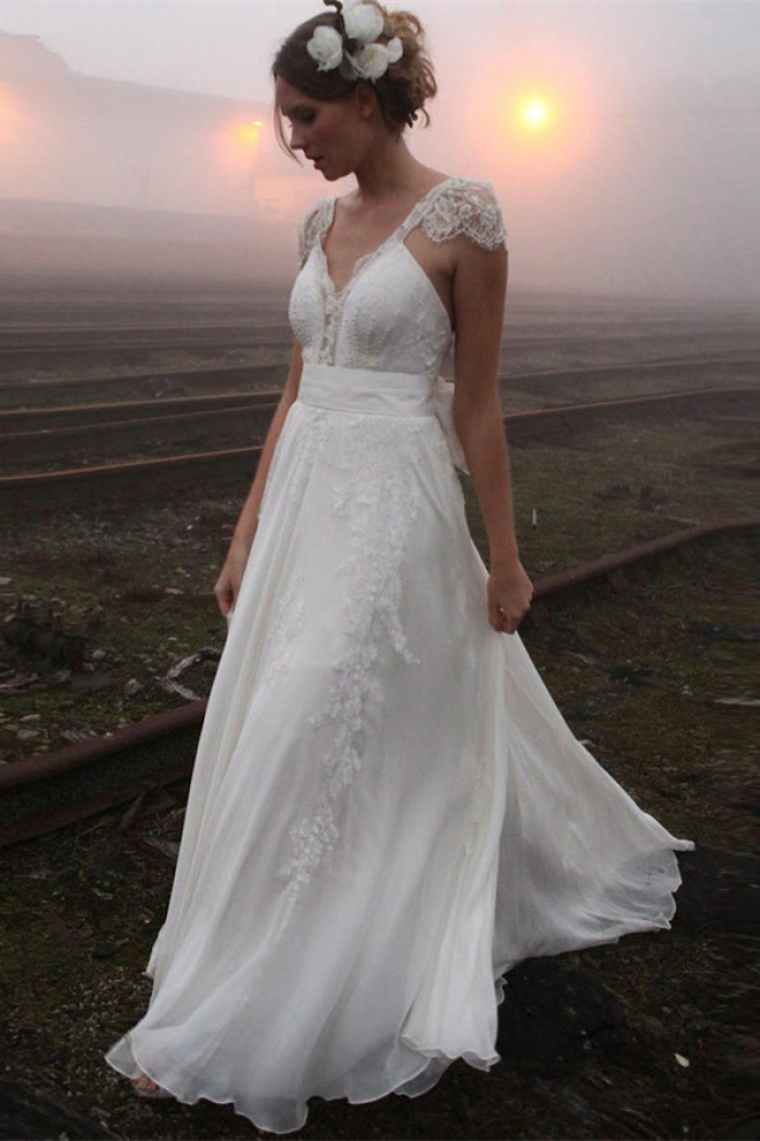 V Neck Summer Wedding Dresses