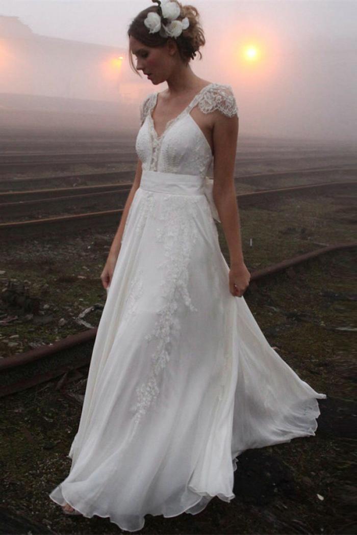 2019 V Neck Summer Wedding Dresses