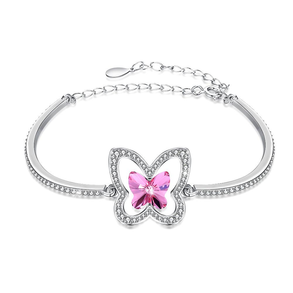 Diamond butterfly charm bracelets for women