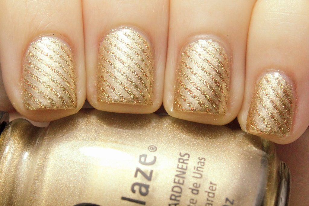 easy glamor gold wedding nail arts design