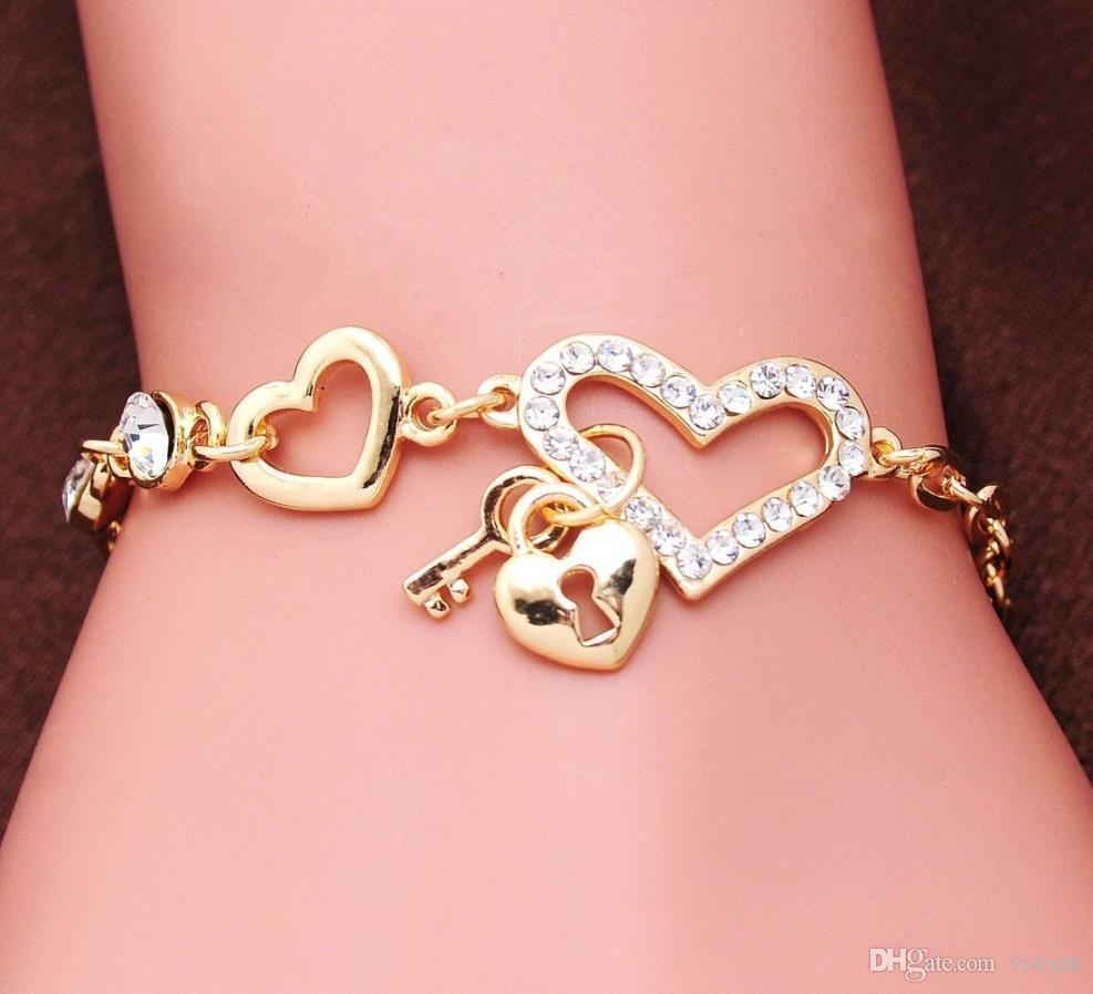 cute gold charm bracelets for women heart shape