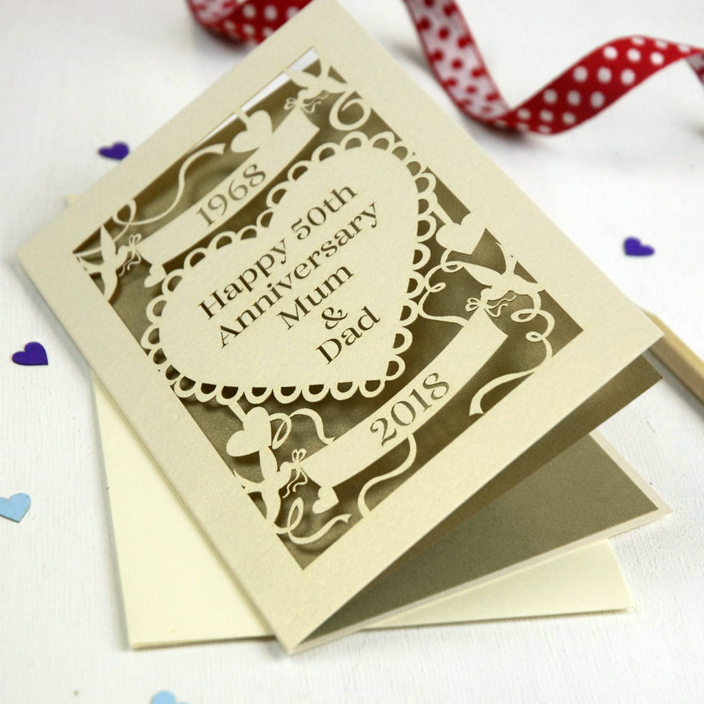 card with golden color for golden wedding anniversary years