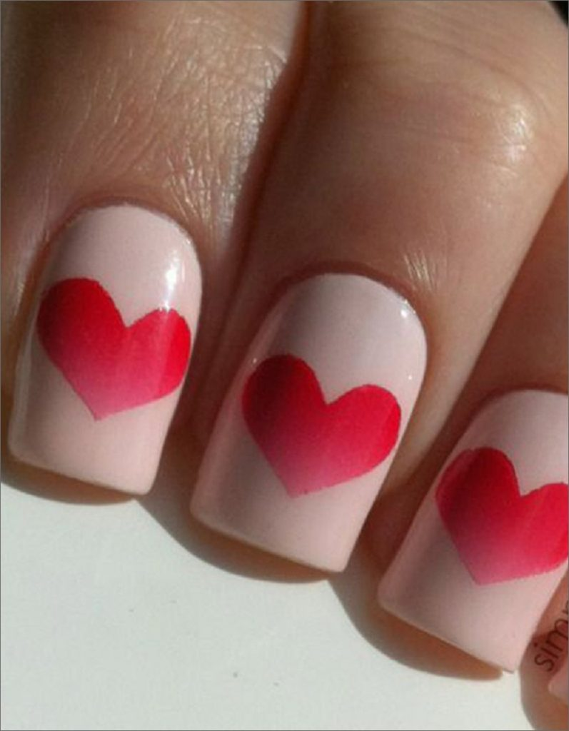 beautiful wedding nail art with heart shape design