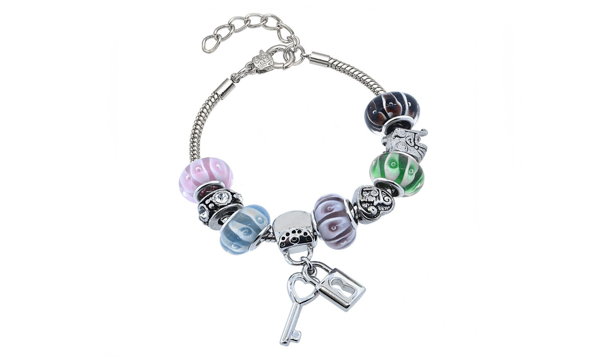 lock and key charm bracelets for women