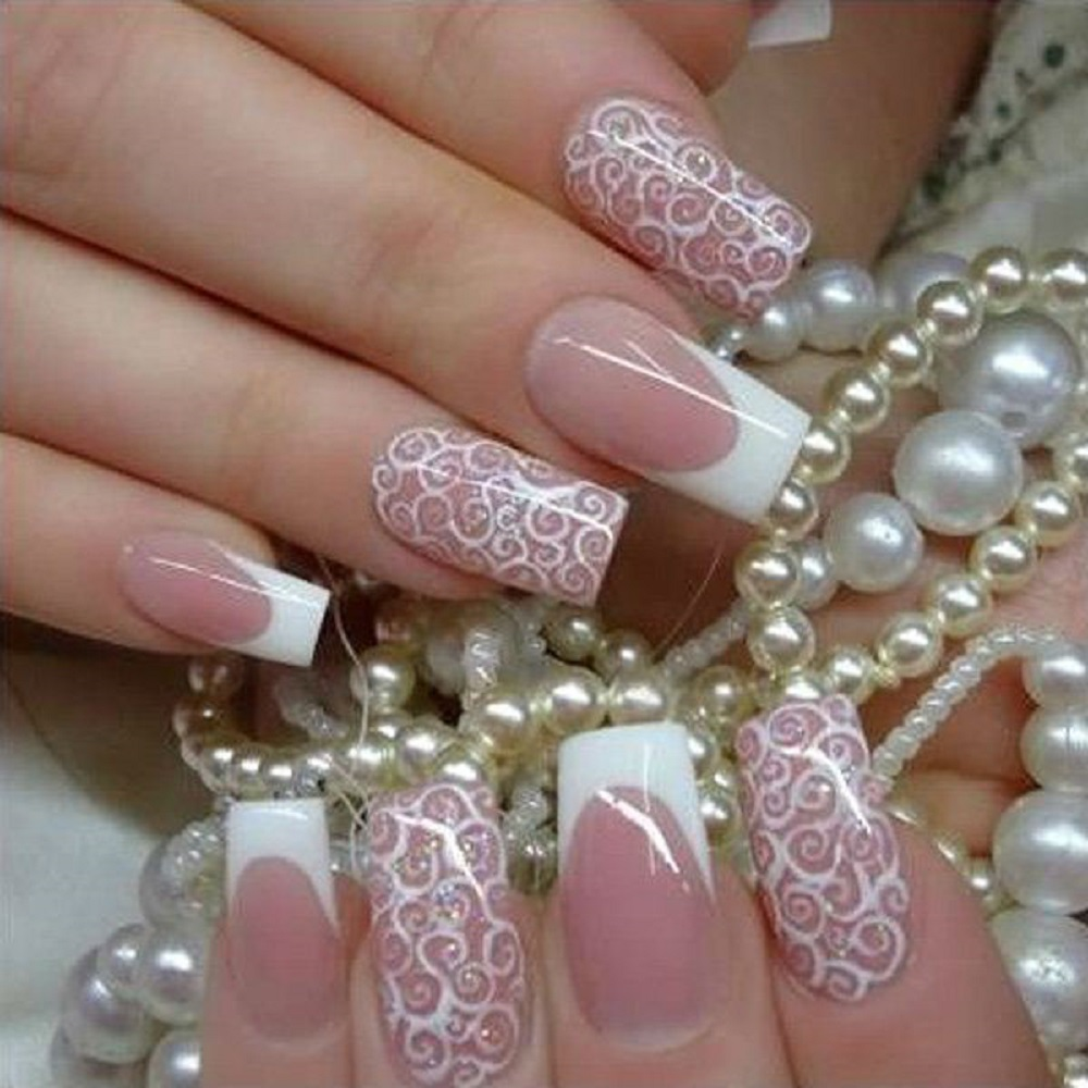 elegant wedding nail art design with pearl design