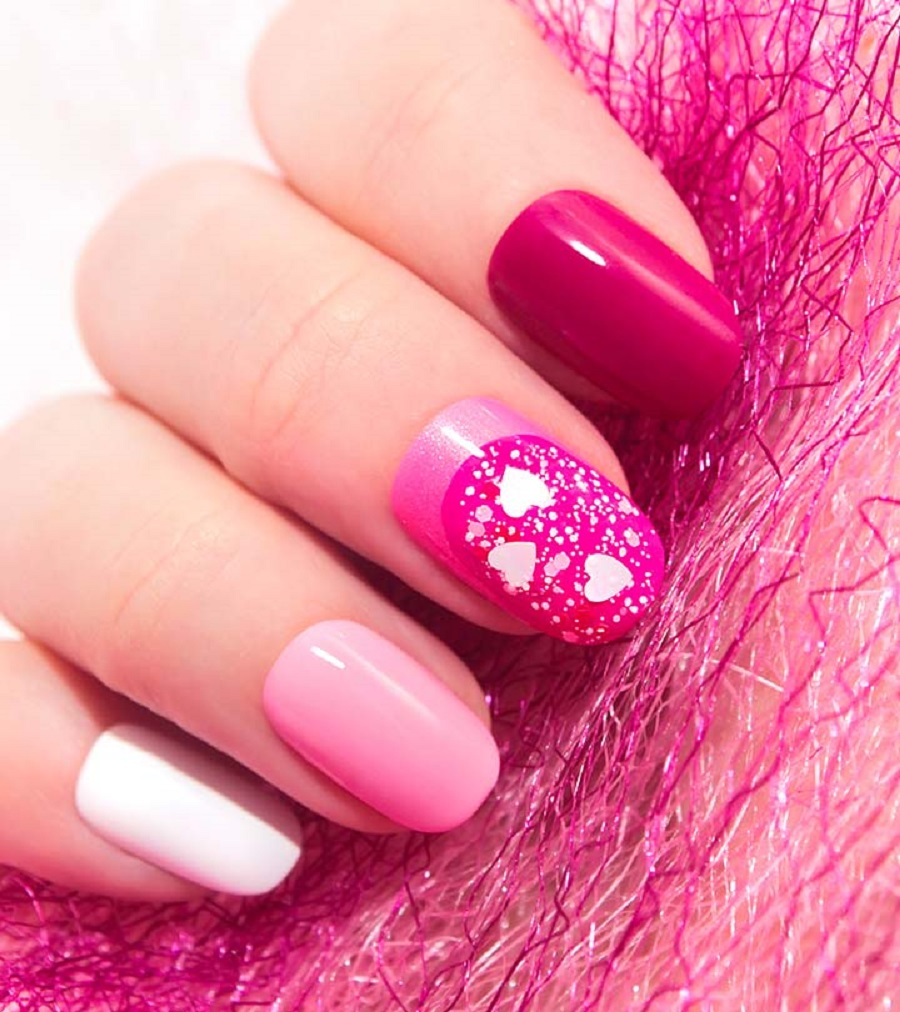 french wedding nail art with pinkish design