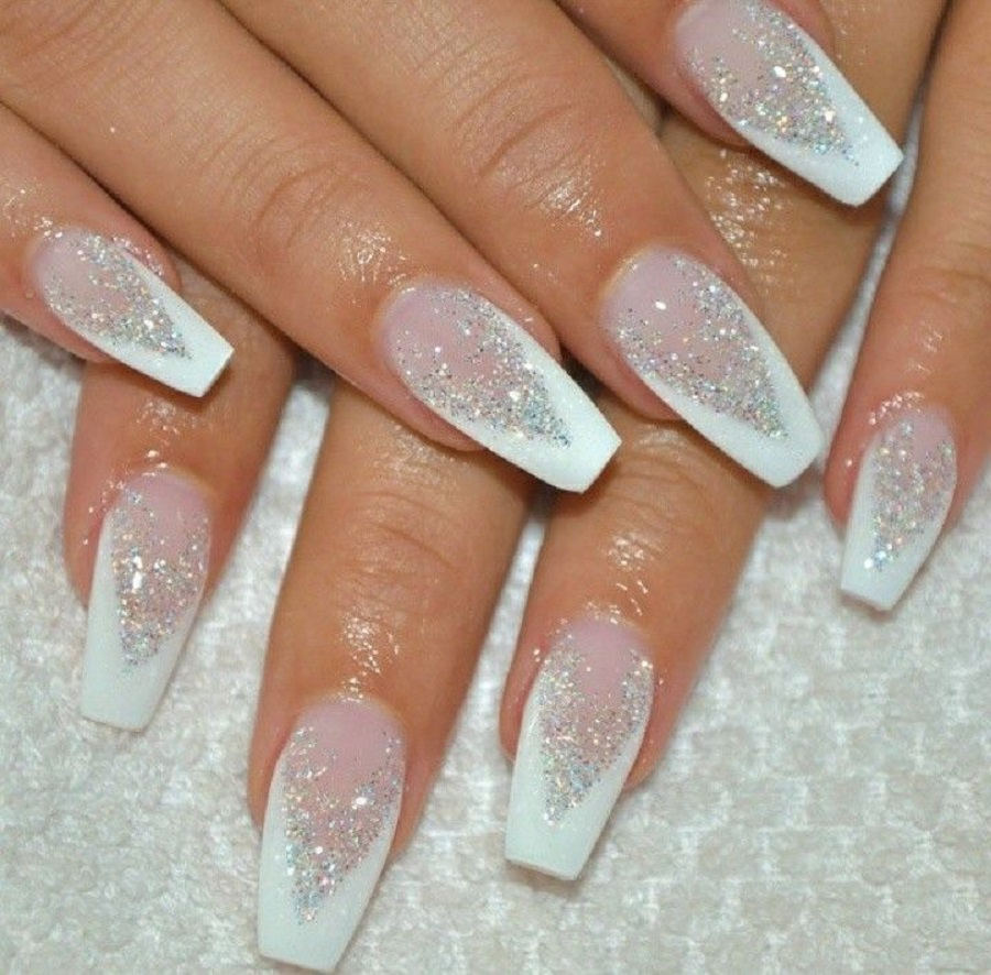 wedding nail art design with sparkling white design