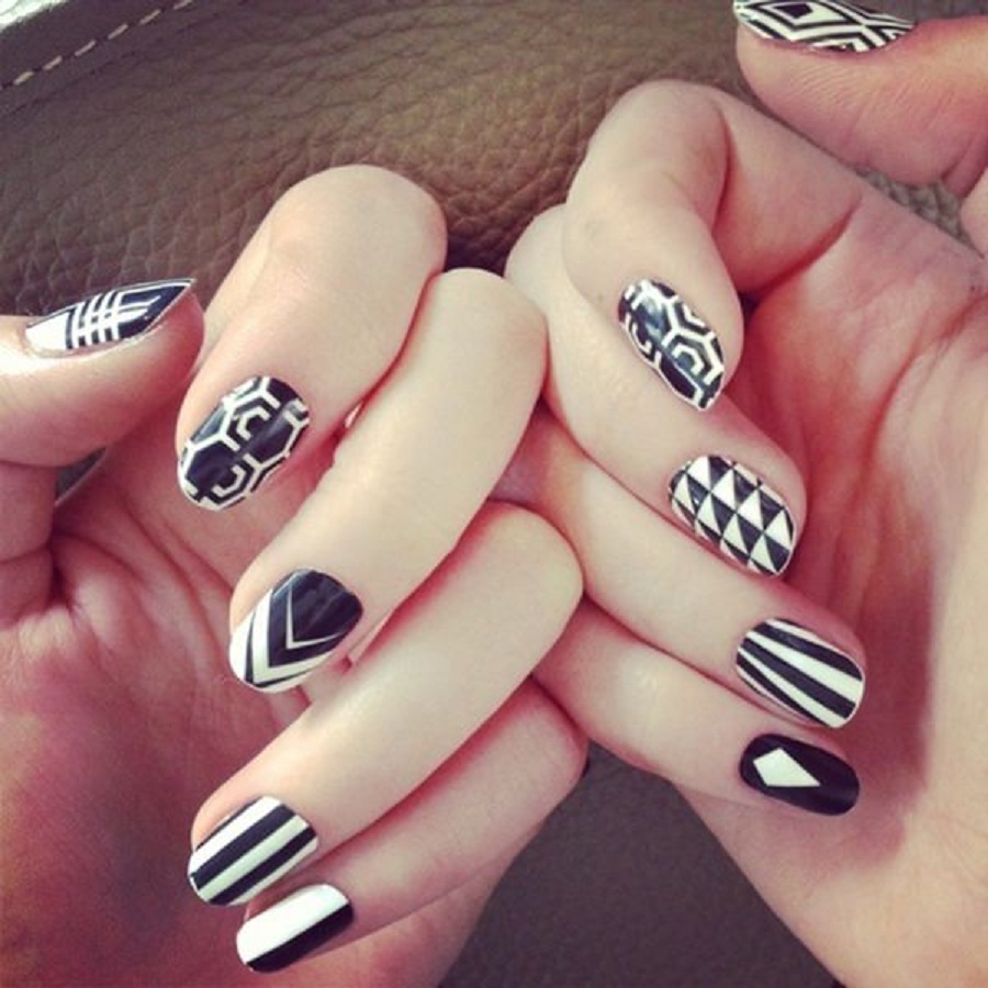 casual and cute nail art design with black and white vibe