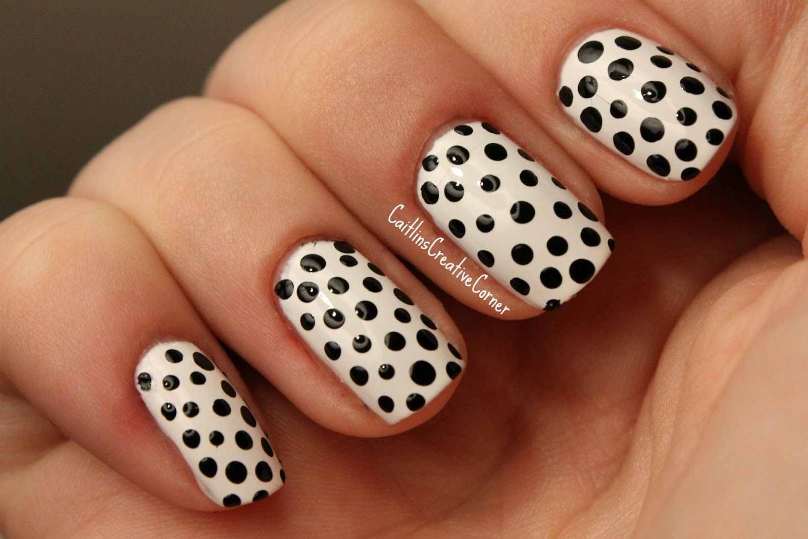 easy nail designs with black dots vibe