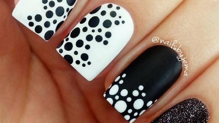 simple black-dots easy nail designs