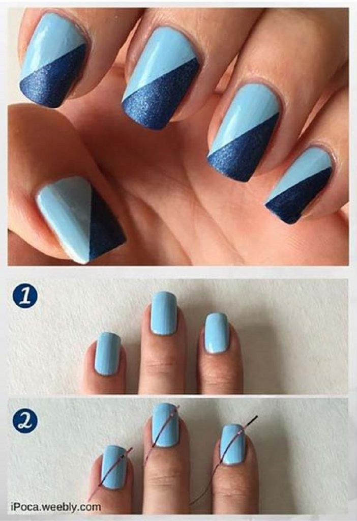 diagonal simple nail arts tutorial
