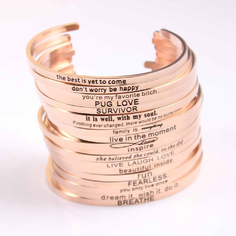 engraved simple gold bracelet designs for ladies
