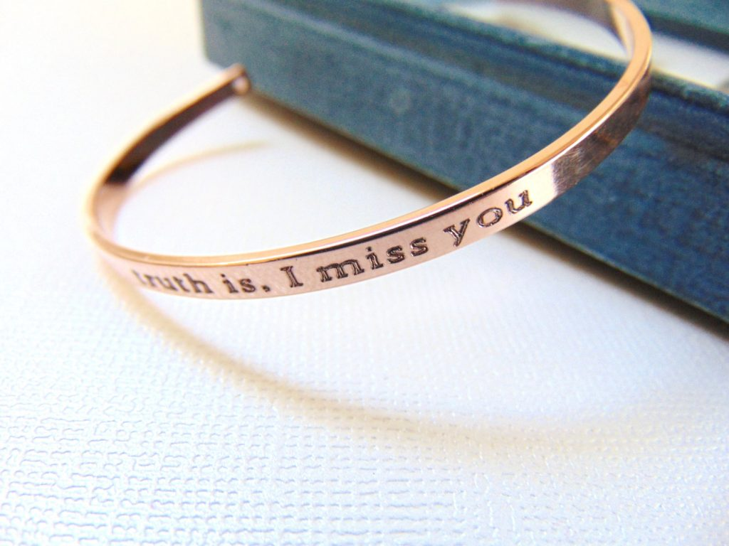 Personalized engraved rose gold bangle bracelets