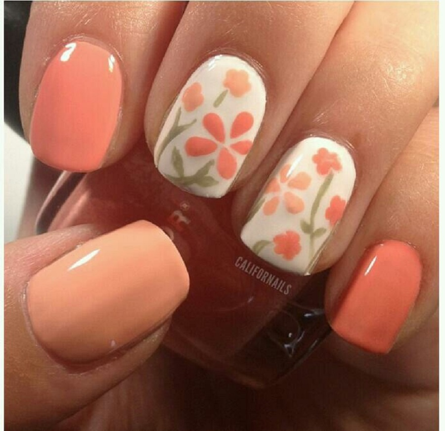 it's a picture of simple nail designs with flowery vibes