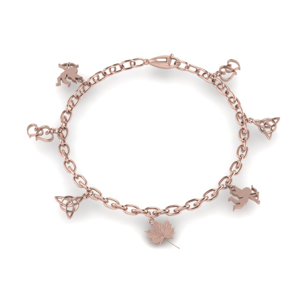 womens gold charm bracelet