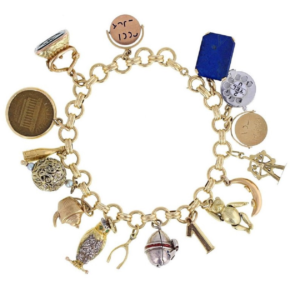 unique gold charm bracelet for girl
