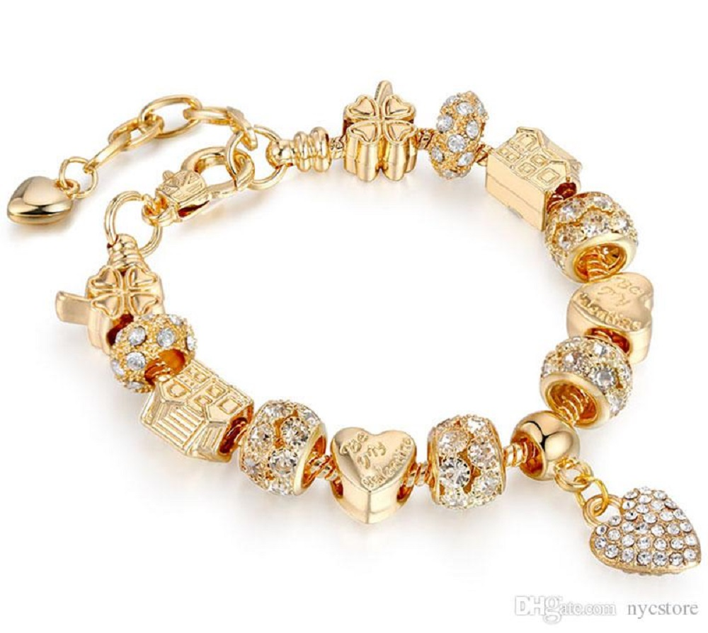 14k gold charm bracelet for women
