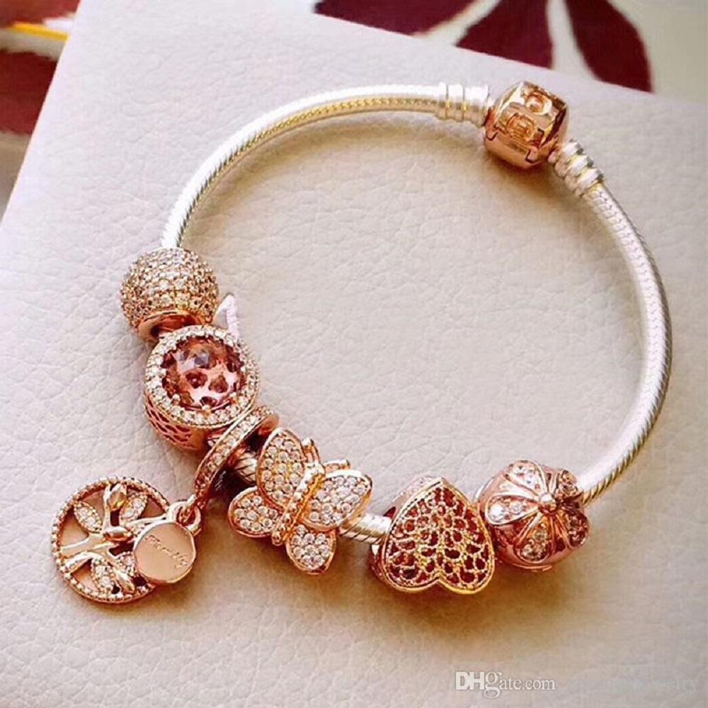 Butterfly gold charm bracelet 22k