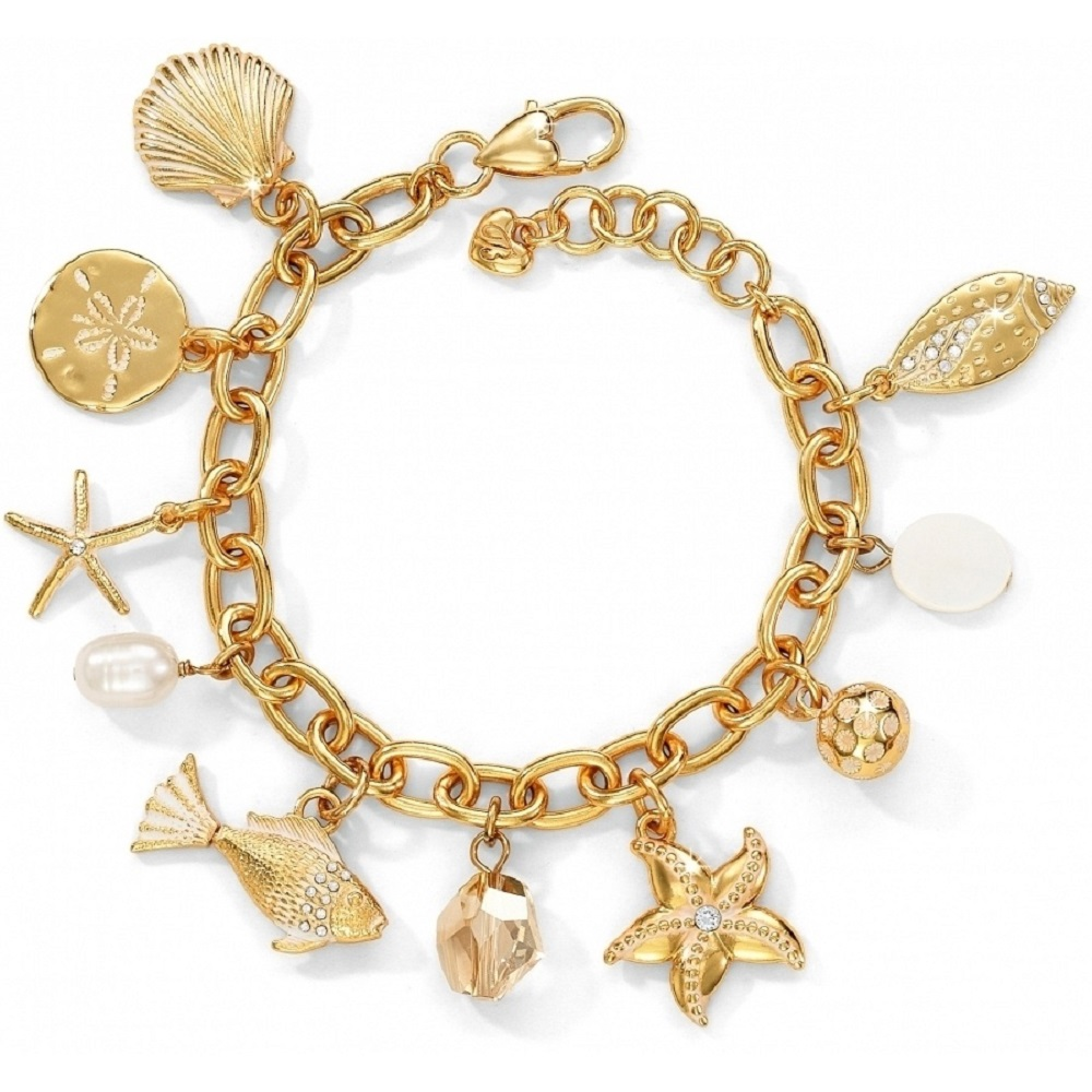 gold charm bracelet 18k for beach wedding