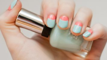 simple nail designs with half-half colored