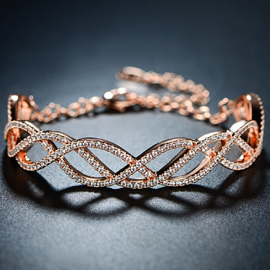 lace rose gold bangle with diamond