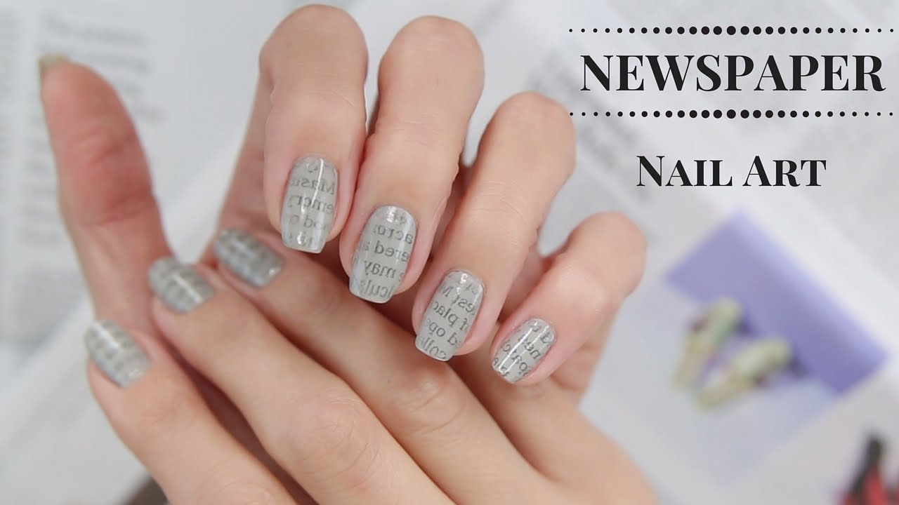 casual nail art designs with newspaper design