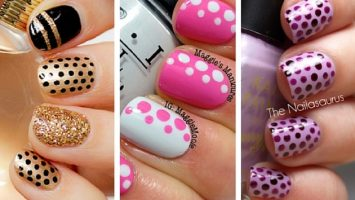 simple nail art with polka dots design