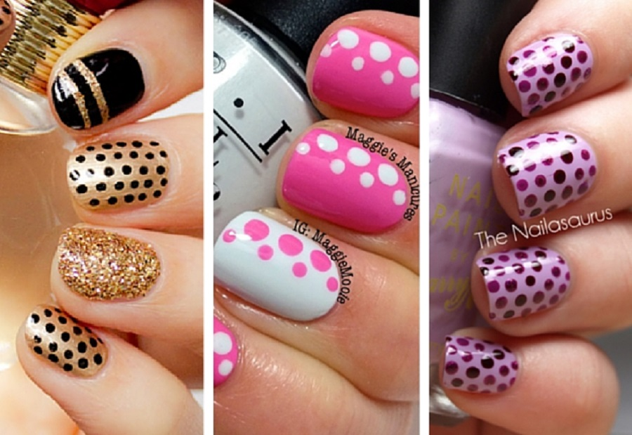 it's a picture of simple nail art with polka dots design