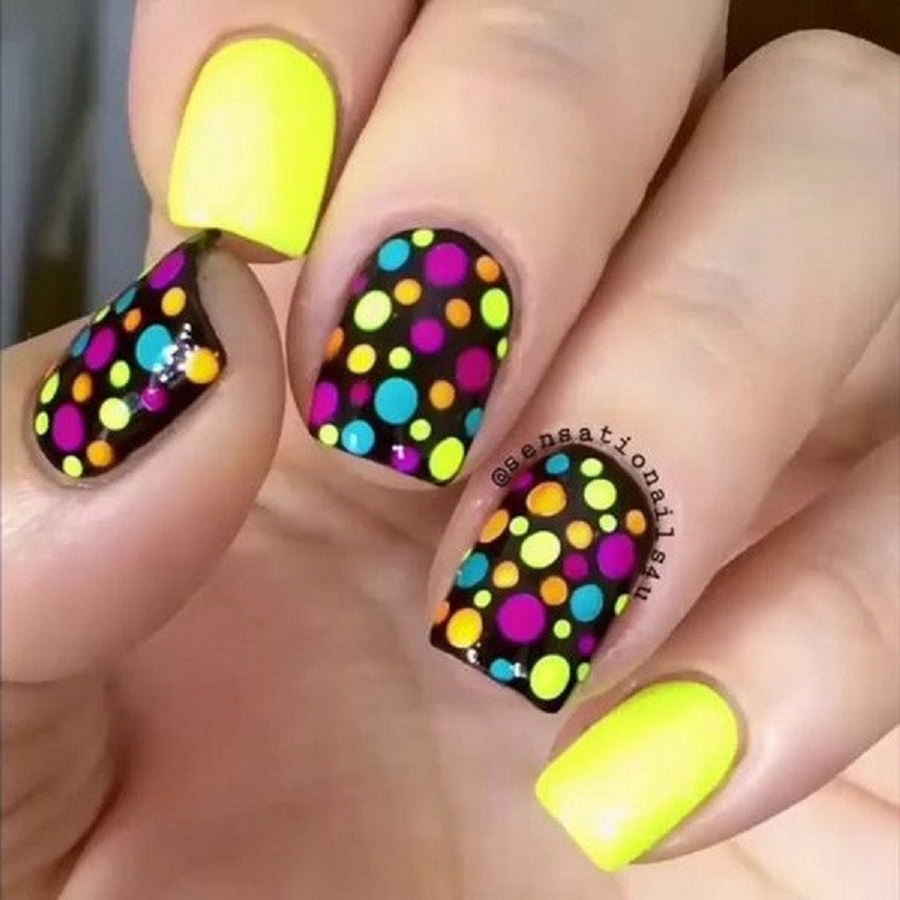 it's a picture of polka dot nail art designs