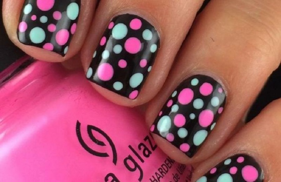 it's a picture or simple nail designs with polka dots vibes