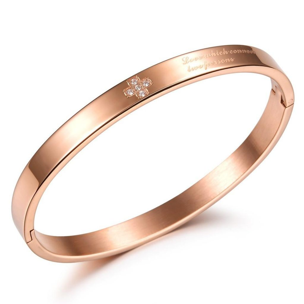 regular plain rose gold bangle solid designs